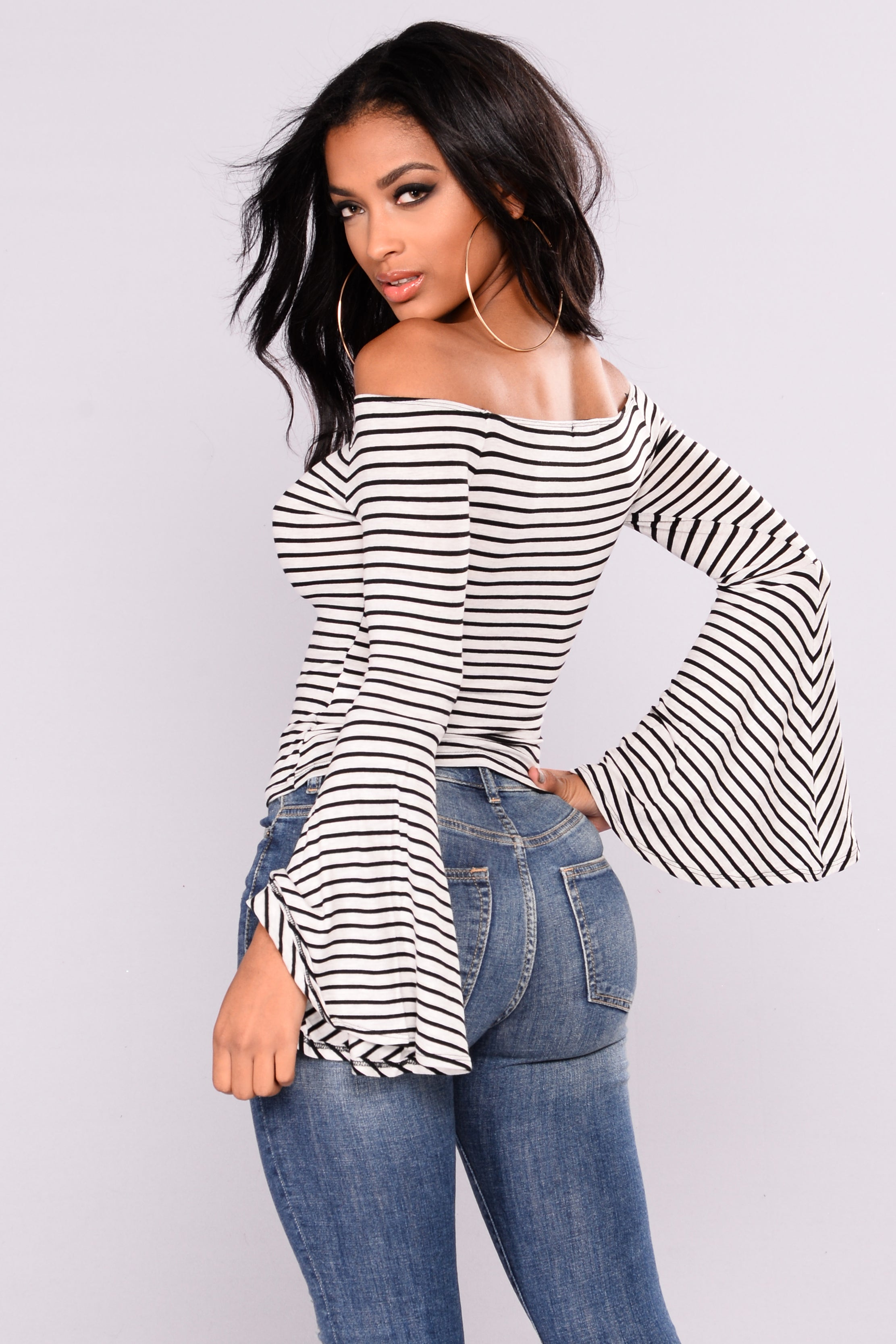 a59e17c6d79118 Randa Striped Off The Shoulder Top - Grey Black