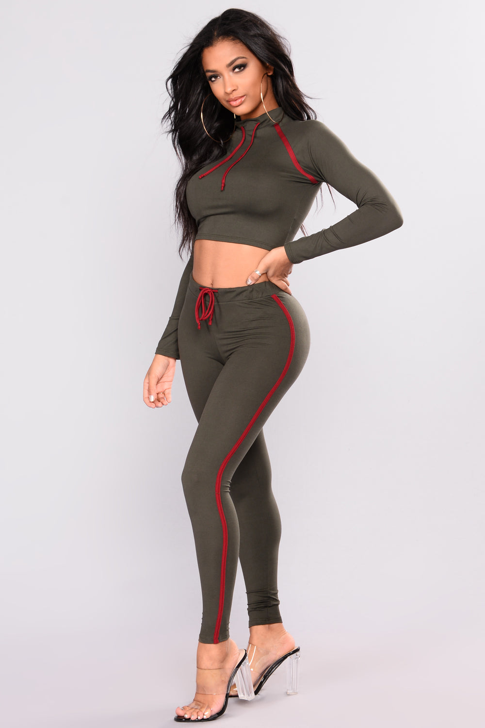 Kathleen Lounge Set - Olive/Burgundy
