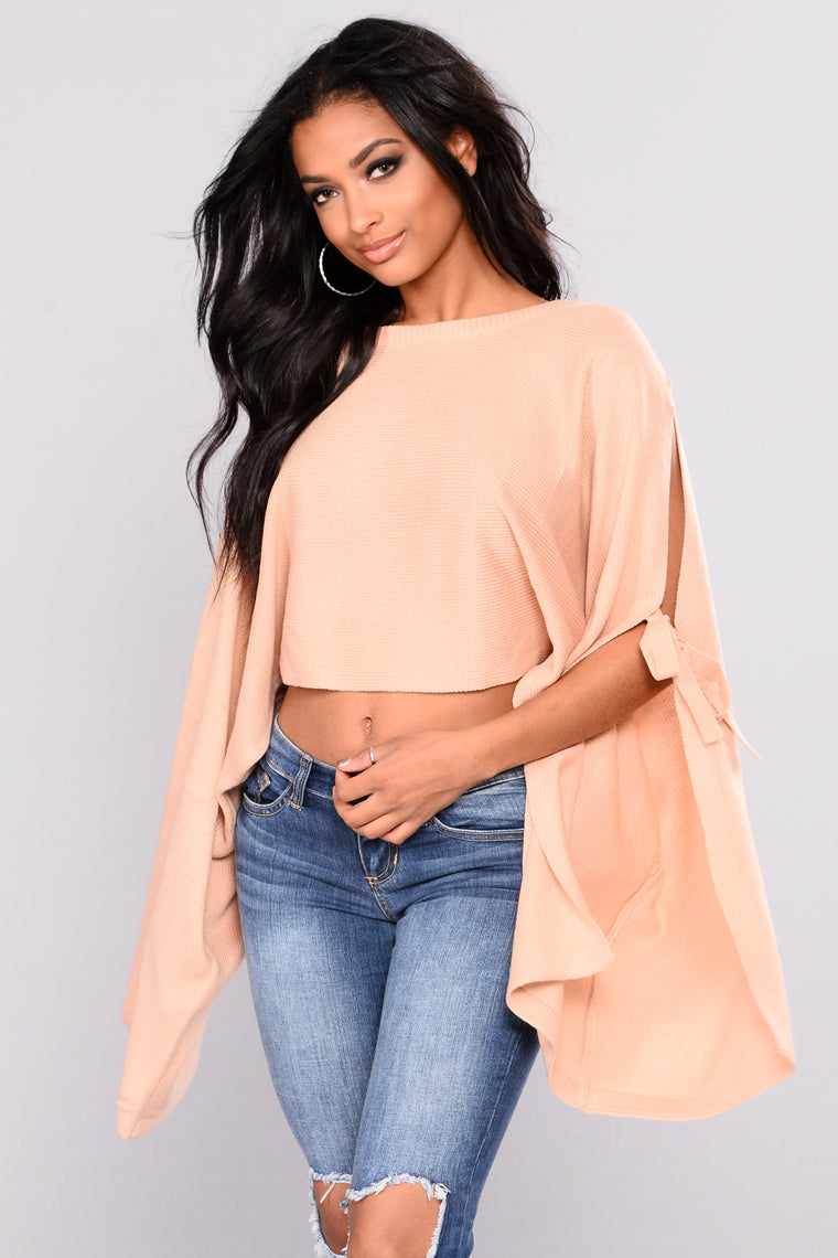 Arosa Tie Sleeve Sweater - Blush