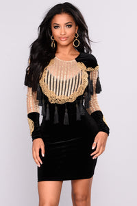 Beaded Beauty Dress - Black