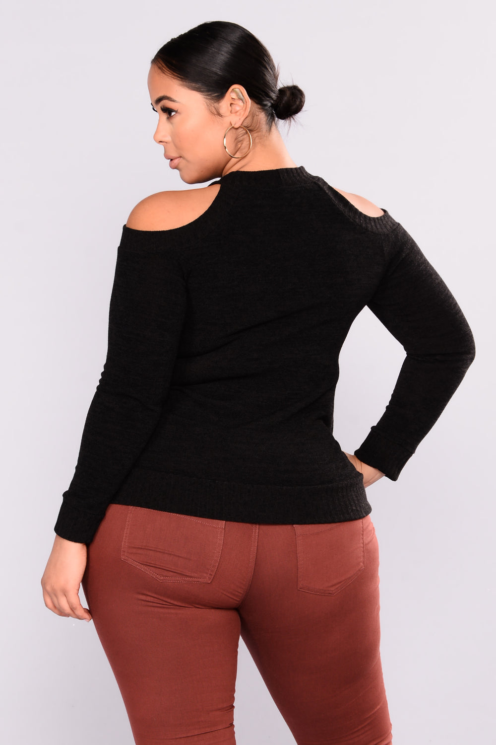 Fall Is Calling Cold Shoulder Sweater - Black