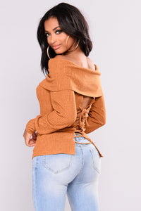 Helsey Off Shoulder Sweater - Mustard