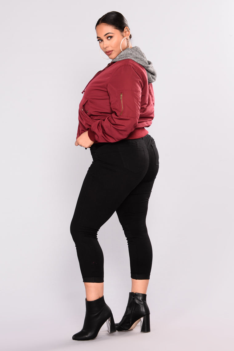 Know The Name Bomber Jacket - Burgundy