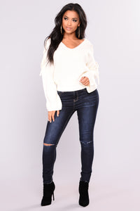 Vienna Lace Up Sweater - Off White