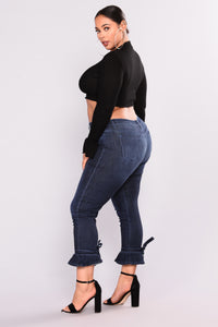 High Class Ruffle Jeans - Dark Denim