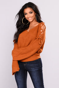 Vienna Lace Up Sweater - Camel Angle 1
