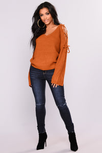 Vienna Lace Up Sweater - Camel Angle 4