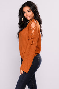 Vienna Lace Up Sweater - Camel Angle 2