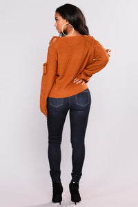 Vienna Lace Up Sweater - Camel Angle 5