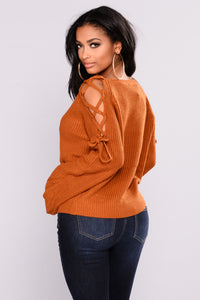 Vienna Lace Up Sweater - Camel Angle 3