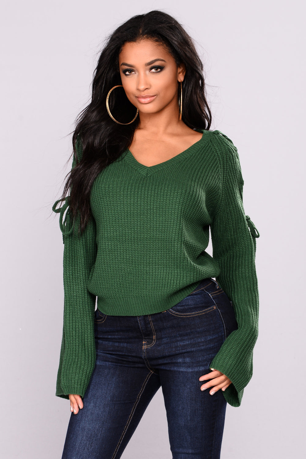 Vienna Lace Up Sweater - Green