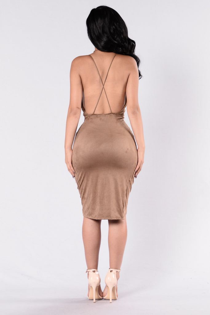 Swayed In Suede Dress - Mocha