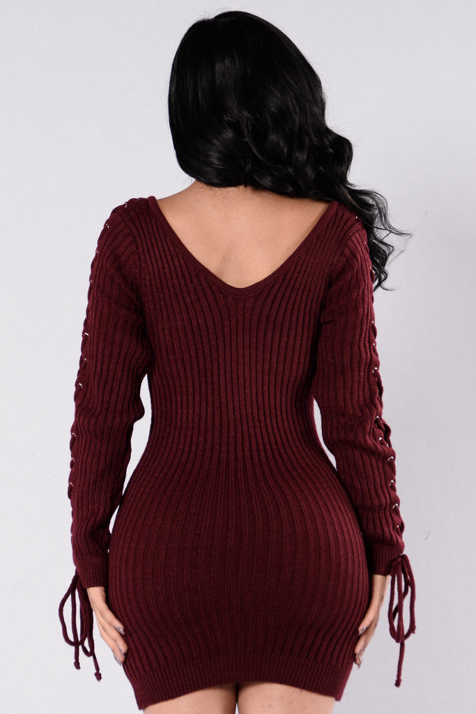 I Mean It Dress - Burgundy