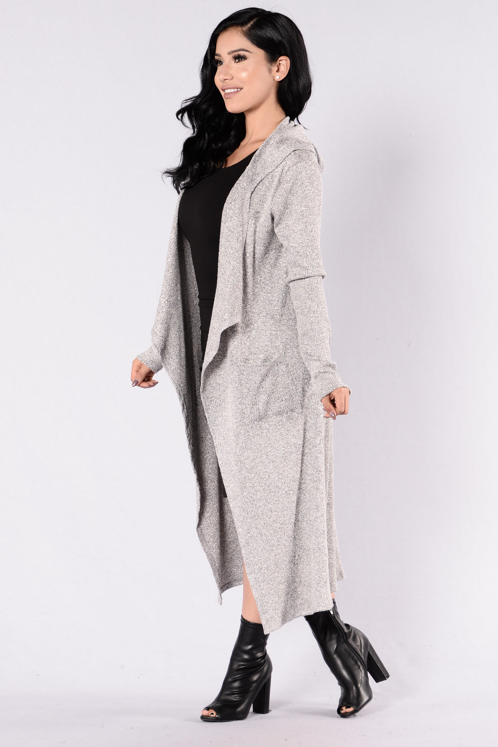 Downhearted Duster Sweater - Heather Grey