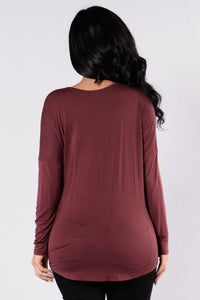 Up For Anything Top - Red Brown