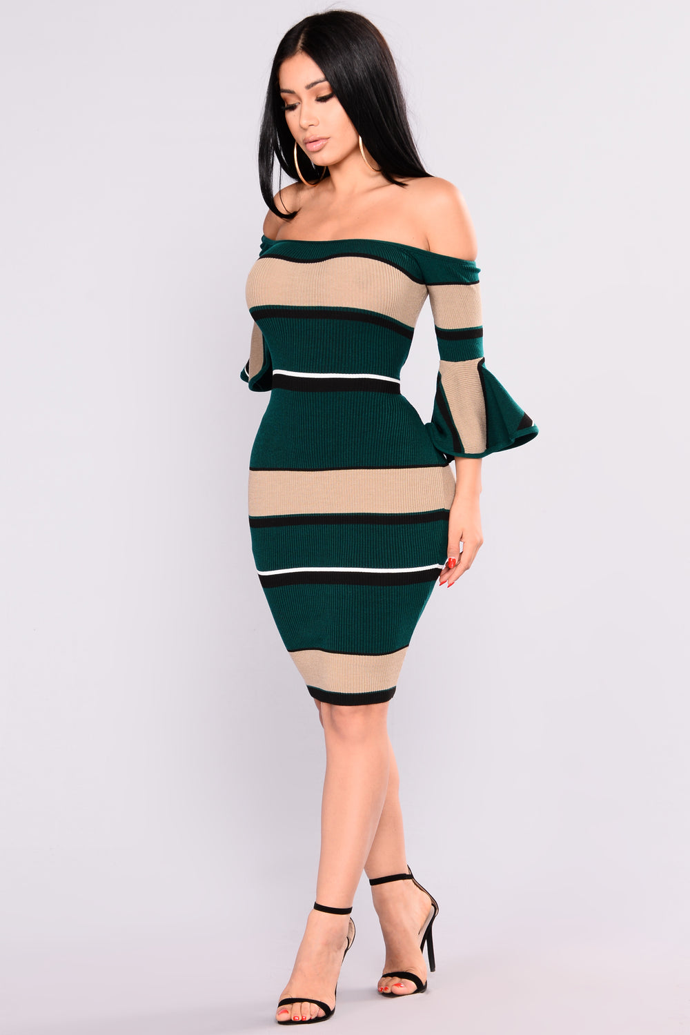 Atlanta Striped Dress - Teal
