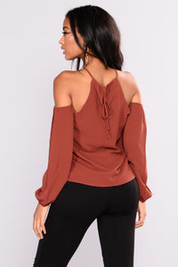 Now And Forever Cold Shoulder Top - Rust Angle 2