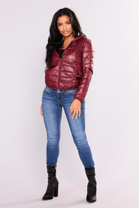 Alaska Padded Jacket - Burgundy Angle 4