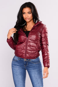 Alaska Padded Jacket - Burgundy Angle 1
