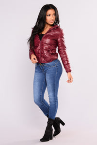 Alaska Padded Jacket - Burgundy Angle 6