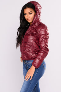 Alaska Padded Jacket - Burgundy Angle 3