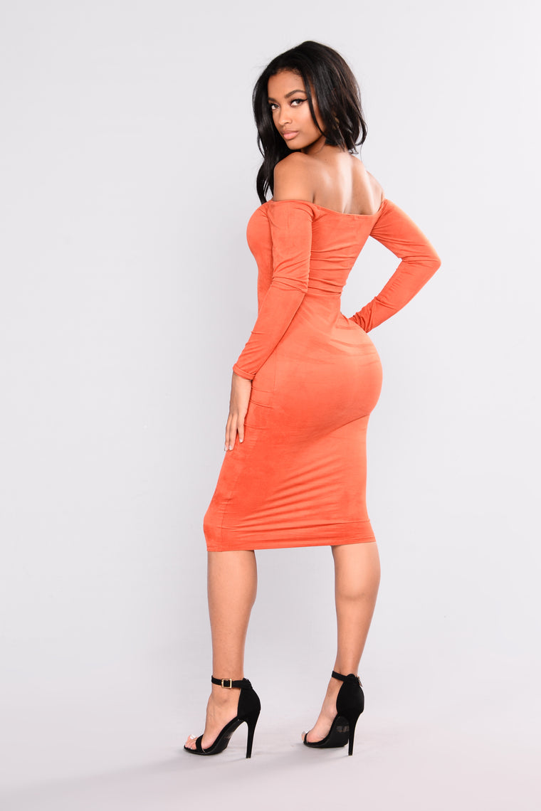 Connie Suede Dress - Rust