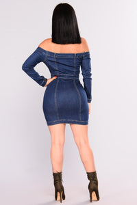 Start Your Engines Denim Dress - Medium Wash