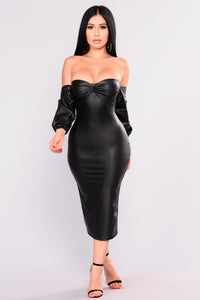 Wild Rider Leather Dress - Black
