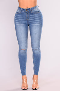 Cut To The Chase Crop Jeans - Medium Blue Wash Angle 1