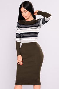 Lost Time Striped Dress - Olive Striped