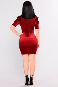 Luella Ruffle Dress - Burgundy