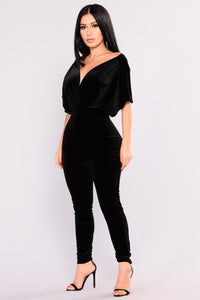 Angel Velvet Jumpsuit - Black
