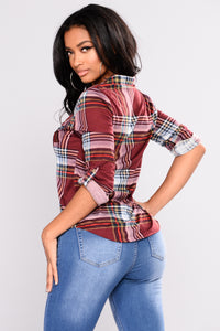 Soul Mate Plaid Top - Burgundy/Multi