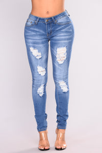 Soft Spot Skinny Jeans - Medium Blue Angle 2