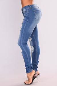 Soft Spot Skinny Jeans - Medium Blue Angle 3