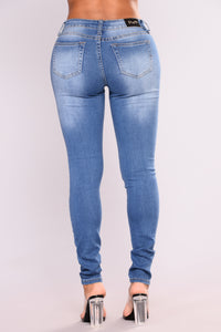Soft Spot Skinny Jeans - Medium Blue Angle 4