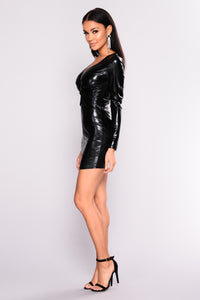 More Spice Than Sugar Metallic Dress - Black