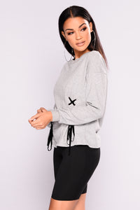 Rockstar Feels Lace Up Top - Grey