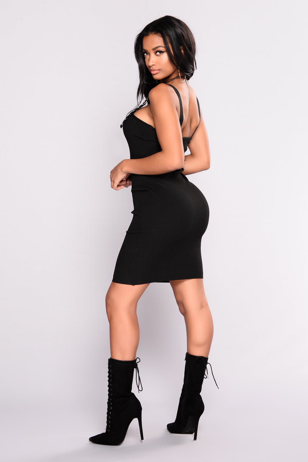 With Some Sass Buckle Dress - Black