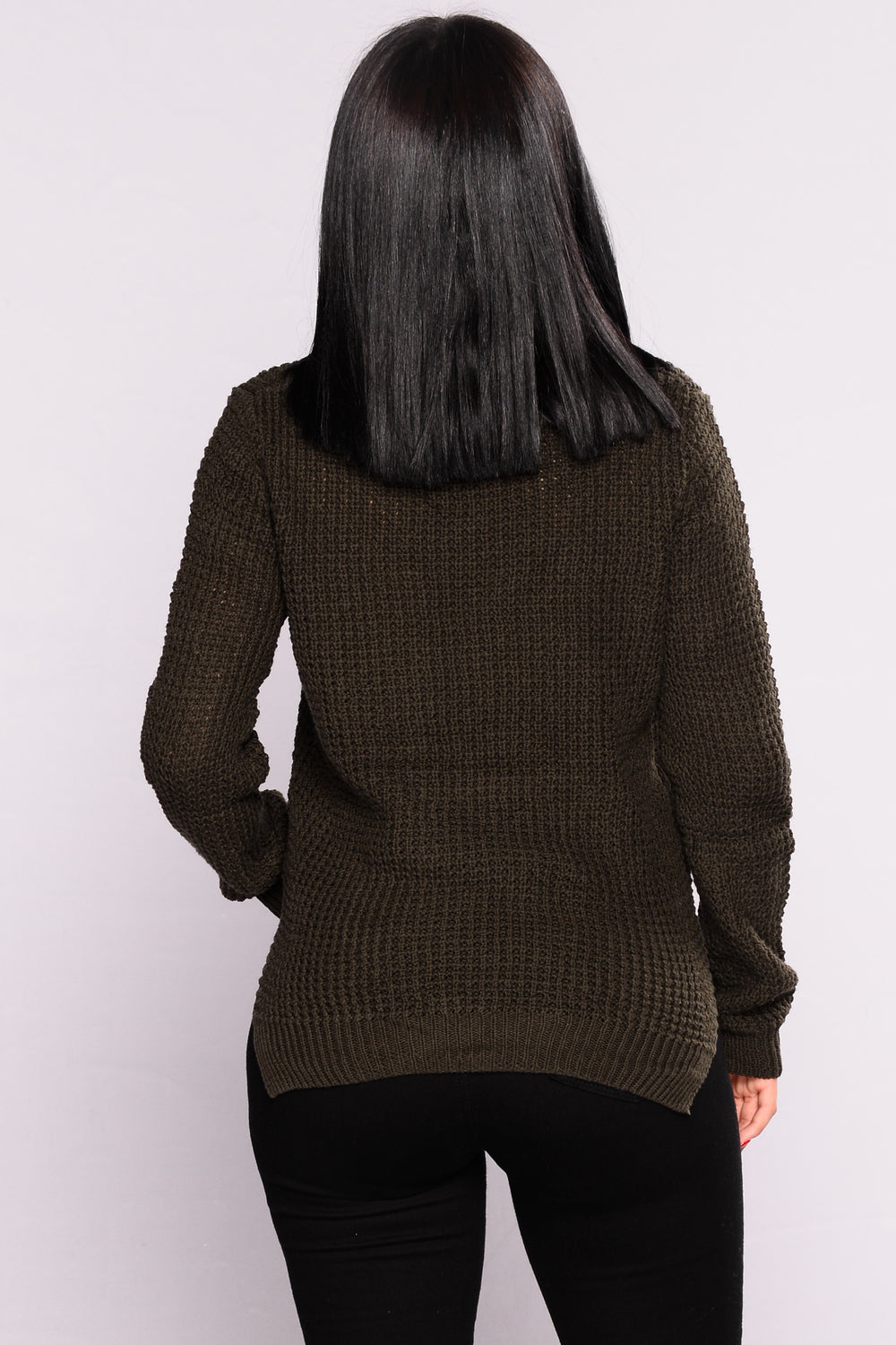 Luisa Lace Up Sweater - Olive