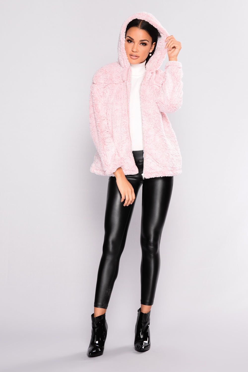 Warm And Toasty Faux Fur Hooded Jacket - Blush