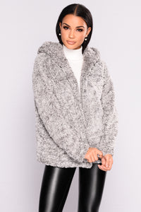 Warm And Toasty Faux Fur Hooded Jacket - Grey