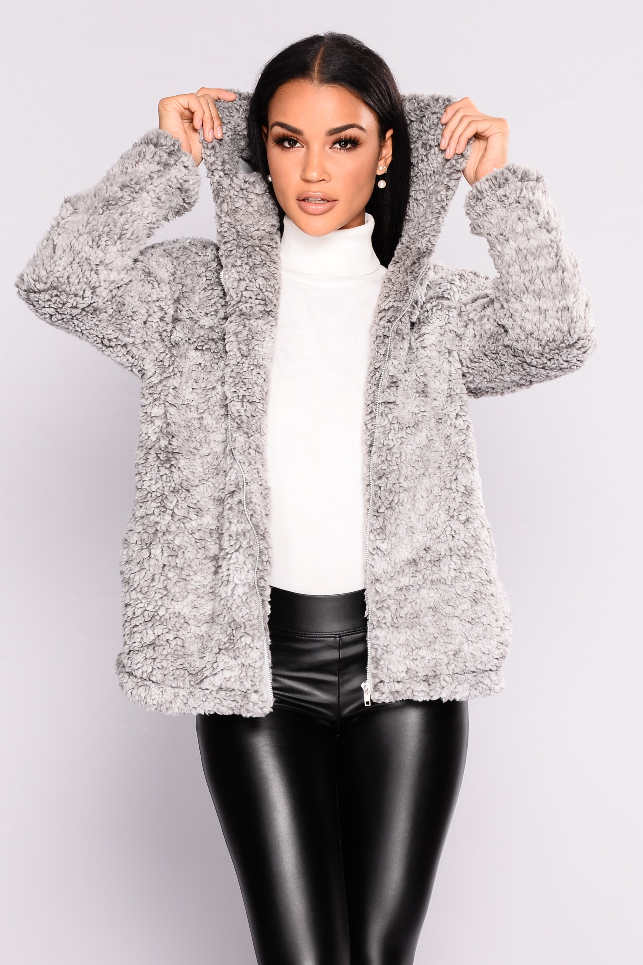cac0eb8a9 Warm And Toasty Faux Fur Hooded Jacket - Grey