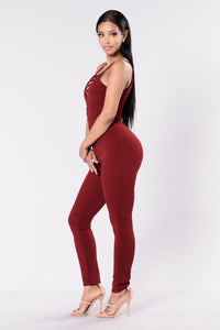 Secret Weapon Jumpsuit - Burgundy