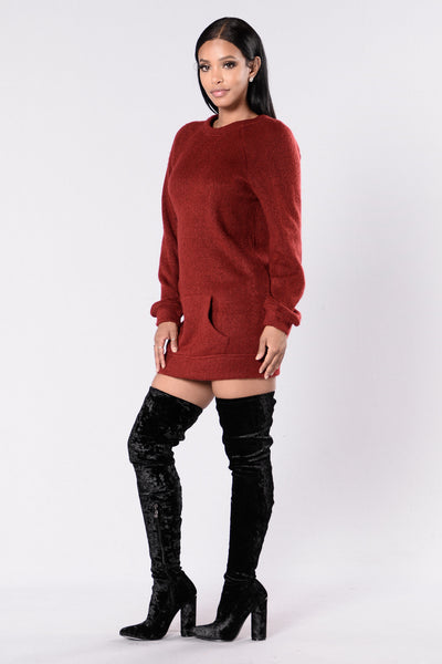 Tip of The Iceberg Sweater Dress - Wine