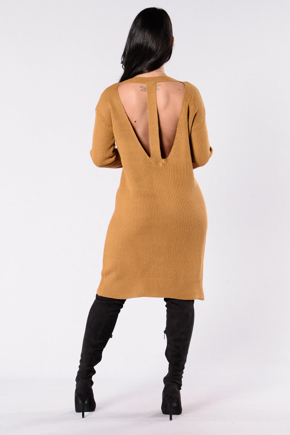 Turn Me Around Sweater Dress - Camel