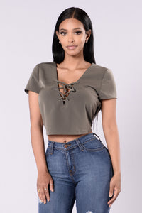 Short And Sweet Top - Olive Angle 1