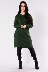 Turn Me Around Sweater Dress - Hunter Green