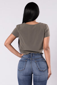 Short And Sweet Top - Olive Angle 2
