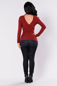 Almost Famous Sweater - Burgundy